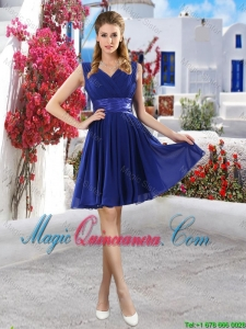 Discount V Neck Short Dama Dresses in Royal Blue
