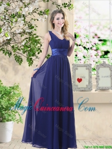 Wonderful Ruched Navy Blue Dama Dresses with V Neck
