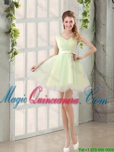 2016 Fall A Line Strapless Short Dama Dresses with Ruching