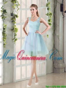 2016 Summer A Line Straps Ruching Dama Dresses with Hand Made Flowers