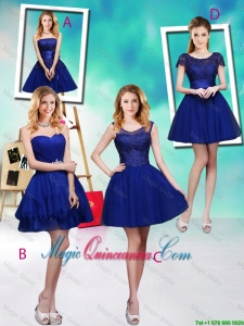 Wonderful Mini Length Royal Blue Dama Dresses with Appliques