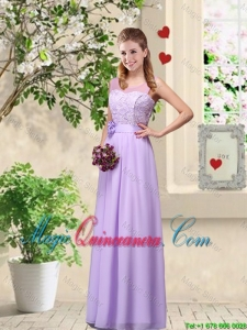 Comfortable Hand Made Flowers Dama Dresses with Lace