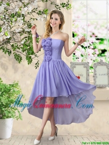 Pretty Strapless Chiffon Dama Dresses with High Low