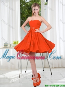 Custom Made Sweetheart Short Dama Dress with Belt