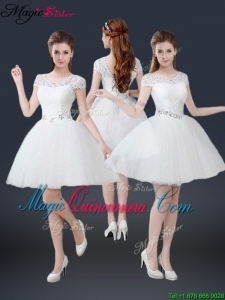 2016 Luxurious Mini Length Short Sleeves Beading Dama Dresses