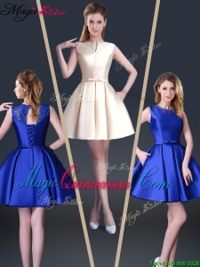 Beautiful Short Bateau Dama Dresses with Bowknot and Beading