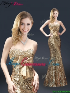 Fall Column Sequins Cheap Mother of the Bride Dresses with Bowknot in Gold