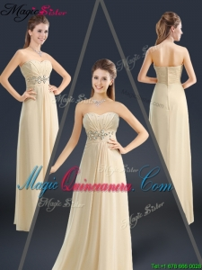 Latest Sweetheart Beading Dama Dresses in Champagne
