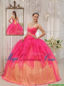 Classical Hot Pink Strapless Quinceanera Dresses with Beading