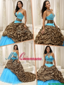 Elegant Beading Sweetheart Quinceanera Dresses with Brush Train