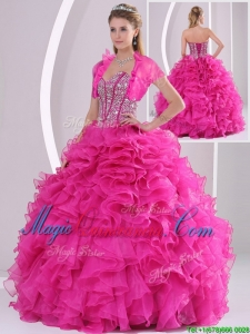 Perfect Ruffles and Beading Fuchsia Classic Quinceanera Gowns