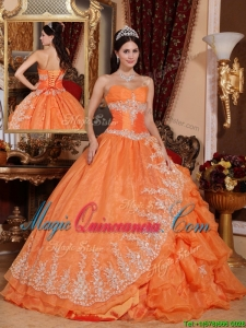 Gorgeous Orange Red Ball Gown Floor Length Quinceanera Dresses