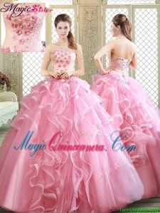 Lovely Strapless Quinceanera Dresses with Appliques and Ruffles