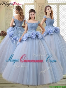 Luxurious Bateau Lavender Quinceanera Dresses with Hand Made Flowers