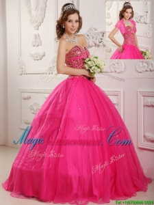 Best Selling A Line Floor Length Quinceanera Dresses in Hot Pink