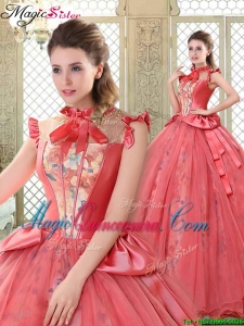 Cheap High Neck Cap Sleeves Quinceanera Dresses with Bowknot