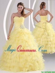 Inexpensive Appliques and Ruffled Layers Quinceaners Dresses