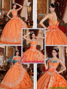 Latest Beading and Appliques Quinceanera Gowns in Orange Red