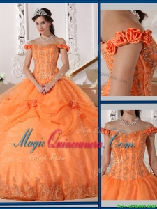Beautiful Ball Gown Appliques and Hand Made Flowers Perfect Quinceanera Dresses