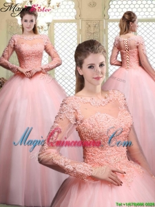 Cheap Bateau Long Sleeves Beading and Appliques Quinceanera Dresses