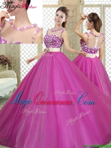 Cheap Scoop Quinceanera Dresses with Belt and Appliques