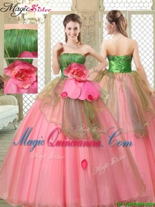 The Most Popular Strapless Quinceanera Dresses with Hand Made Flowers