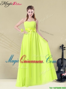 Fashionable Sweetheart Belt Dama Dresses in Yellow Green