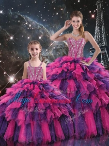New Style Ball Gown Princesita with Quinceanera Dresses with Beading and Ruffled Layers for Fall