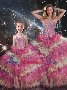 Wonderful Sweetheart Ruffled Layers Princesita with Quinceanera Dresses for Fall