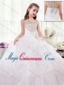 Beautiful Scoop White Little Girl Pageant Dresses with Beading