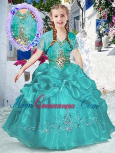 New Style Halter Top Bubles Little Girl Pageant Dresses in Turquoise