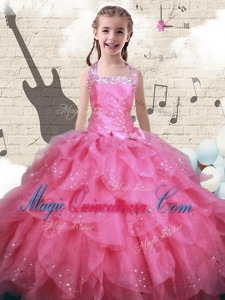 2016 New Style Beading and Ruffles Little Girl Pageant Dresses in Watermelon