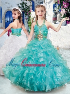 2016 Top Selling Halter Top Little Girl Pageant Dresses with Beading and Ruffles