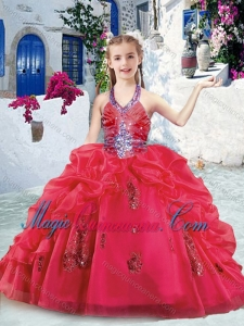 Fashionable Halter Top Little Girl Pageant Dresses with Beading and Bubles