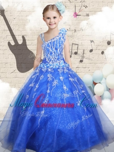 Latest Ball Gown Asymmetrical Little Girl Pageant Dresses with Beading