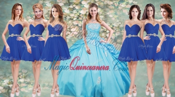 Fashionable Applique Aqua Blue Quinceanera Dress and Short Blue Dama Dresses