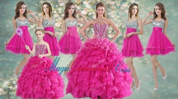 Pretty Hot Pink Beaded and Ruffled Quinceanera Dress and Short Sequined Dama Dresses and Strapless Mini Quinceanera Dress