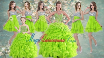 Visible Boning Yellow Green Quinceanera Gown and Sequined Short Dama Dresses and Beaded and Ruffled Mini Quinceanera Dress