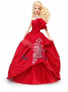 Elegant Red Gown With Embroidery Made to Fit the Barbie Doll