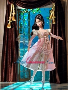 New Fashion Princess Pink Dress With Long Sleeves Gown for Barbie Doll