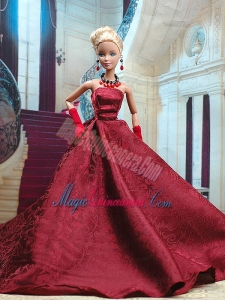 Beautiful Burgundy Satin Party Dress for Noble Barbie Doll
