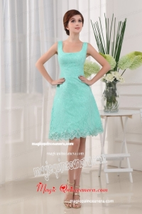 Apple Green Square A-Line Mini-length Lace 2015 Mother of Bride Dress