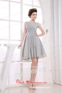 Bateau Grey knee-length Chiffon 2015 Mother of Bride Dress