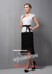Black and White Column Square Tea-length Lace and Chiffon Sash Mother Of The Bride Dress