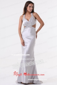 Brush Train Silver Column Halter Top Mother Dress with Beading