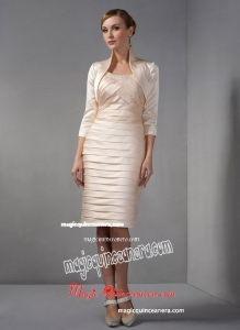 Champagne Column Scoop Knee-length Taffeta Beading and Ruch Mother Of The Bride Dress