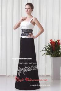 Column Straps Floor-length Lace Black and White Mother Dress