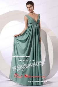 Empire V-neck Floor-length Light Blue Ruching Chiffon Mother Dress