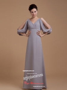 Grey Mother Of The Bride Dress With V-neck 3/4 Length Sleeves Floor-length
