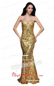 Mermaid Gold Sweetheart Sequins Beading Floor-length Mother Dress